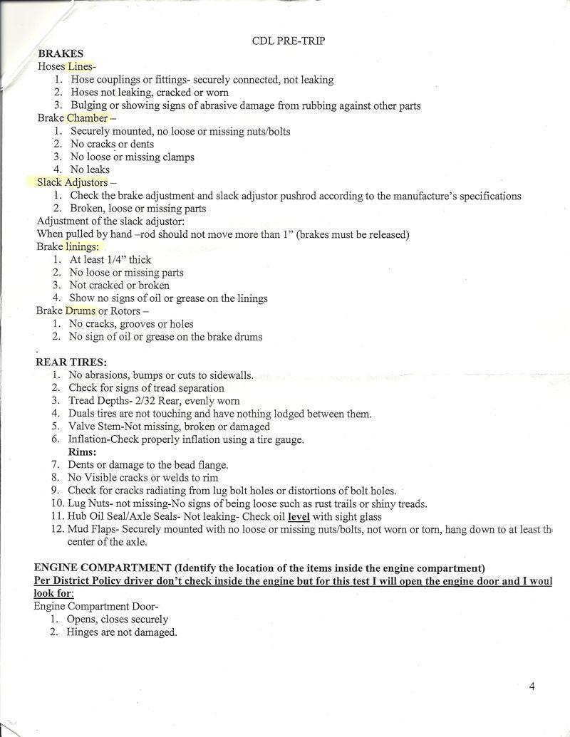 CDL Pretrip Inspection Study Guide